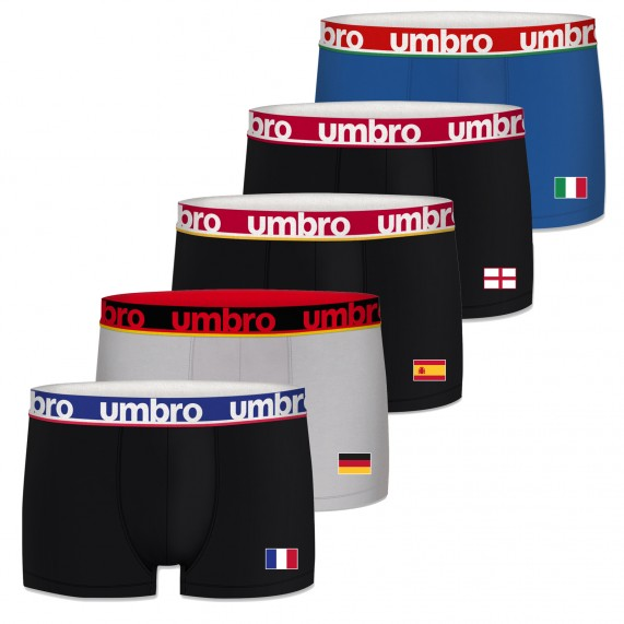Lot de 5 Boxers Homme Sport Edition Foot Europe (Boxers) Umbro chez FrenchMarket