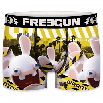 Boxer Homme Lapins Crétins Warning (Boxers) Freegun chez FrenchMarket