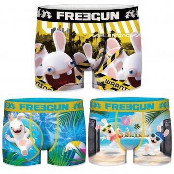 Lot de 3 Boxers Garçon Lapins Crétins (Boxers) Freegun chez FrenchMarket