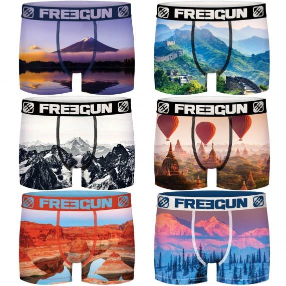 Lot de 6 Boxers Freegun Recyclé Paysage (Boxers) Freegun chez FrenchMarket