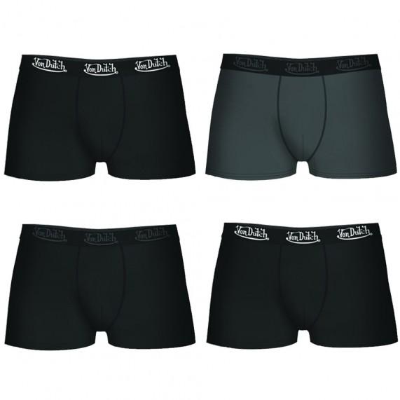 Lot de 4 Boxers Von Dutch Homme en Coton Pack Noir/Gris  (Boxers) chez FrenchMarket