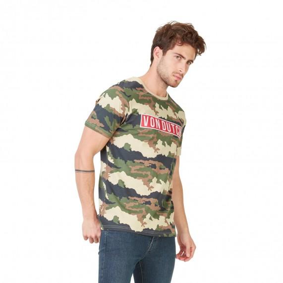 Von Dutch T-Shirt Homme Bells Camouflage Logo Rouge (T Shirts) Von Dutch chez FrenchMarket