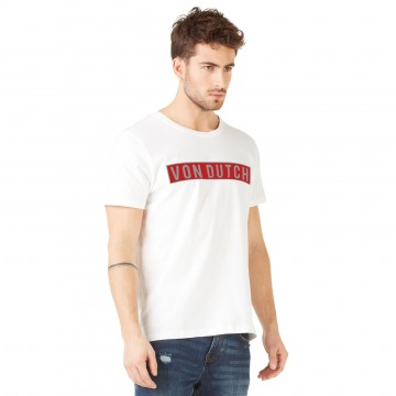 Von Dutch T-Shirt Homme Bells Blanc Logo Rouge (T Shirts) Von Dutch chez FrenchMarket