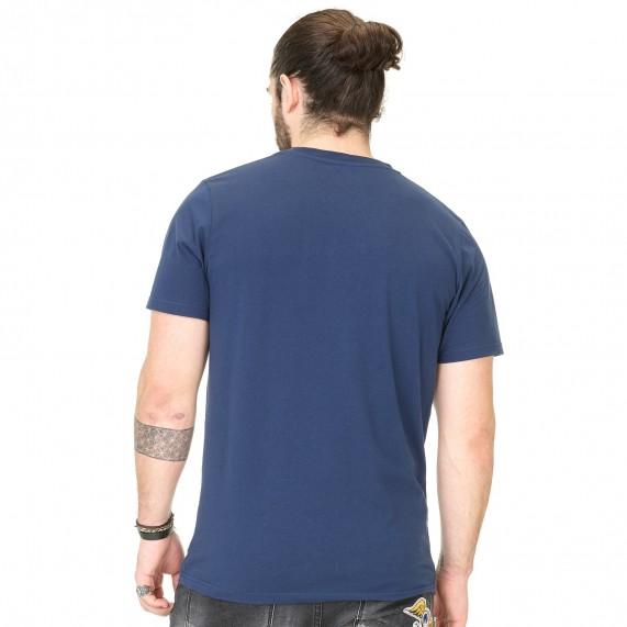 Von Dutch T-Shirt Homme Classic Bleu Logo Blanc (T Shirts) Von Dutch chez FrenchMarket