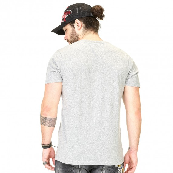 Von Dutch T-Shirt Homme Classic Gris Logo Noir (T Shirts) Von Dutch chez FrenchMarket