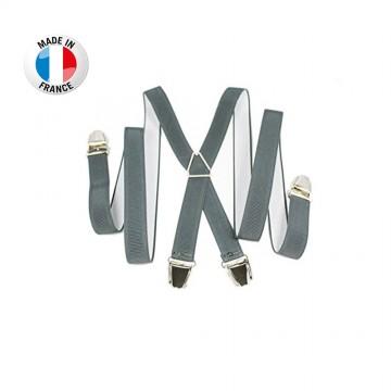 Bretelles en X à pinces/clips Fine (2,5 cm) Gris - Fabrication Française  (Bretelles) chez FrenchMarket
