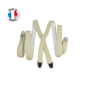 Bretelles en X à pinces/clips Fine (2,5 cm) Beige - Fabrication Française  (Bretelles) chez FrenchMarket