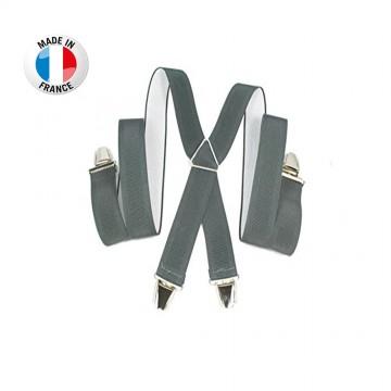 Bretelles en X à pinces/clips Large (3,5 cm) Gris - Fabrication Française  (Bretelles) chez FrenchMarket