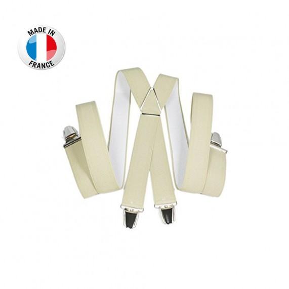 Bretelles en X à pinces/clips Large (3,5 cm) Beige - Fabrication Française (Bretelles) French Market chez FrenchMarket
