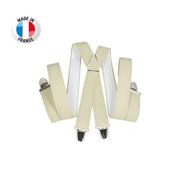 Bretelles en X à pinces/clips Large (3,5 cm) Beige - Fabrication Française  (Bretelles) chez FrenchMarket