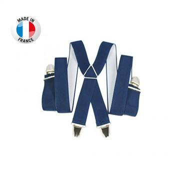 Bretelles en X à pinces/clips Large (3,5 cm) Bleu - Fabrication Française  (Bretelles) chez FrenchMarket