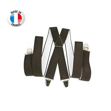 Bretelles en X à pinces/clips Large (3,5 cm) Marron - Fabrication Française  (Bretelles) chez FrenchMarket