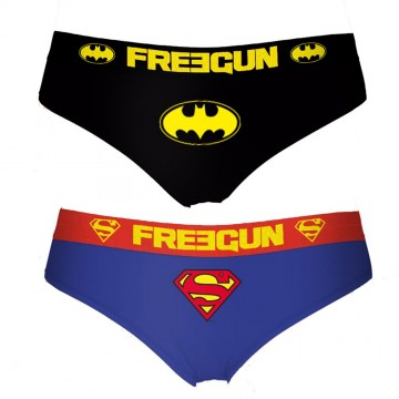 Lot de 2 Boxers Coton Femme Freegun DC Comics Batman et Superman  (Boxers) chez FrenchMarket