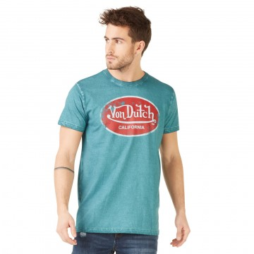Von Dutch T-Shirt Homme Logo Uni Aaron Cyan  (T Shirts) chez FrenchMarket