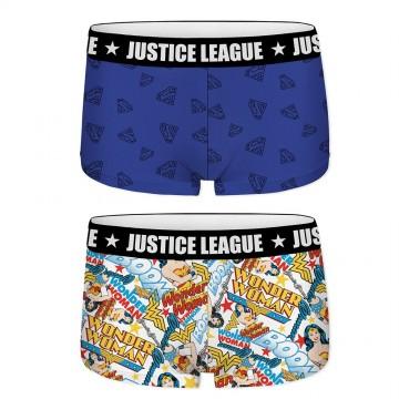 Lot de 2 Shortys Justice League Fille en Coton Superman et Wonder Woman (Boxers/Shorty) Freegun chez FrenchMarket