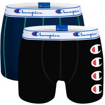 CHAMPION Lot de 2 Boxers Coton Homme Bleu/Noir  (Boxers) chez FrenchMarket