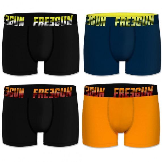Lot de 4 Boxers Homme Coton Uni (Boxers) Freegun chez FrenchMarket